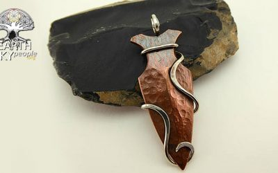 Forged Silver and Copper Arrowhead Pendant